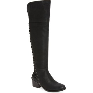 Vince Camuto Bolina Black Leather Over-the-knee Fitted Riding Bestan Boot