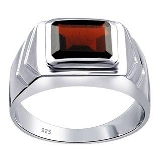 Orchid Jewelry 4.0 Cts Garnet 925 Sterling Silver Ring For Mens