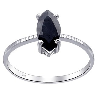 0.65 Ct. Sapphire 925 St. Silver Engagement Ring By Orchid Jewelry