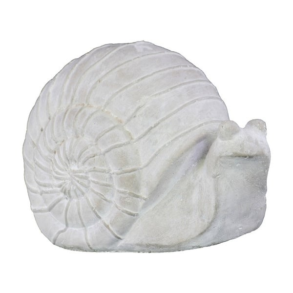 Urban Trends Cement Ribbed Grass Snail Figurine in Washed Concrete Finish - White