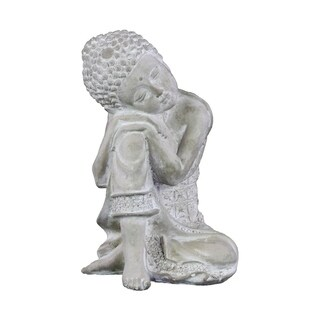 Urban Trends Cement Sitting Buddha Figurine with Rounded Ushnisha Head Resting on Knee in Washed Concrete Finish - White