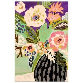 """Empire Art""""Fresh Flowers in Vase I"""" Frameless Tempered Glass Wall Art"""