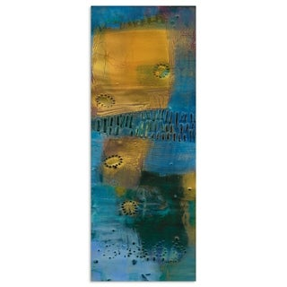 "Empire Art""Reedy Blue I"" Frameless Tempered Art Glass Wall Art"