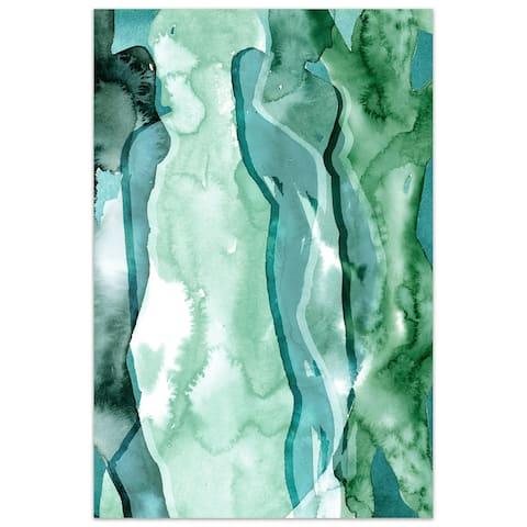 """Empire Art""""Water Women I"""" Frameless Tempered Art Glass Wall Art"""