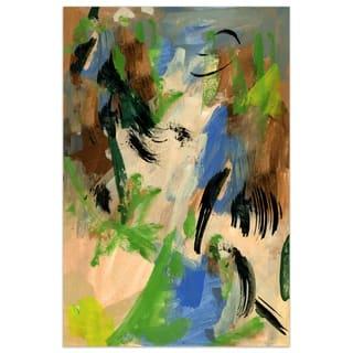"""Empire Art""""Linen & Blues I"""" Frameless Tempered Art Glass Wall Art"""