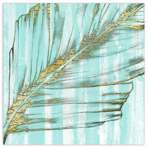 "Empire Art""Beach Frond in Gold I"" Frameless Tempered Glass Wall Art"