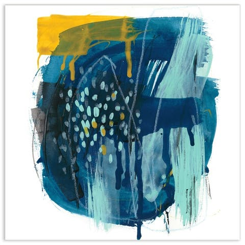 """Empire Art""""Intuitive Motion I""""Frameless Tempered Art Glass Wall Art"""