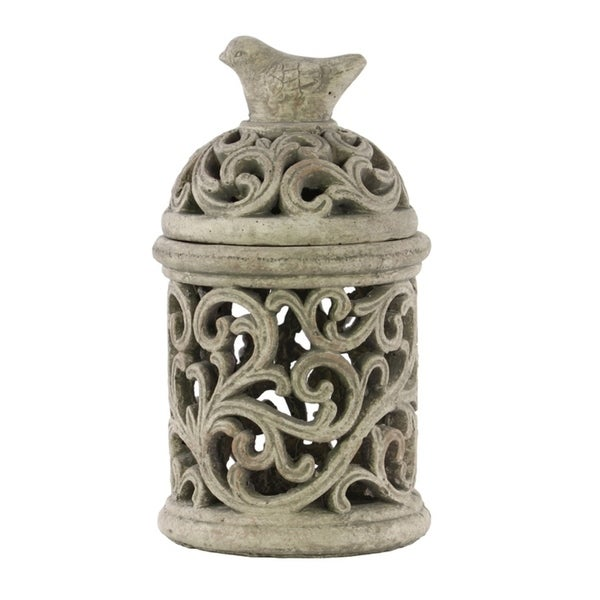 Urban Trends Cement Round Lantern with Sculpted Swirl Cutout Design in Concrete Finish, Large - Gray