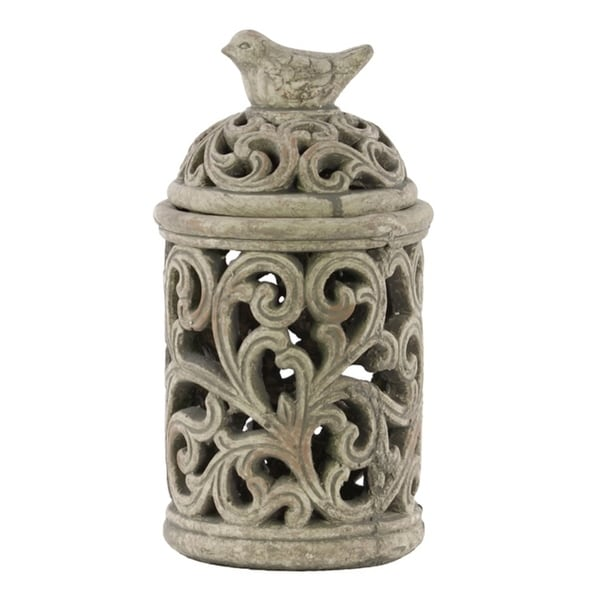 Urban Trends Cement Round Lantern with Sculpted Swirl Cutout Design in Concrete Finish, Small - Gray