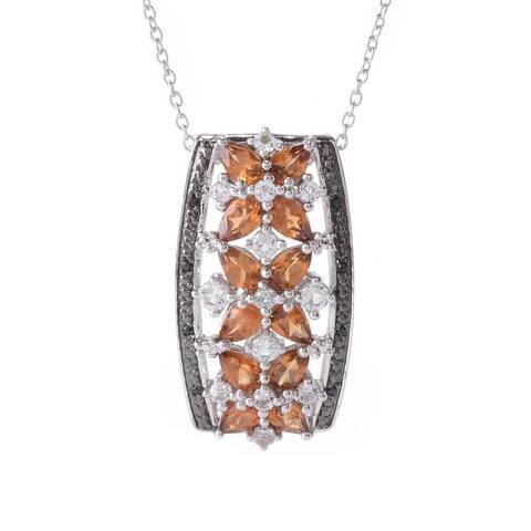"Pinctore Sterling Silver Hessonite Garnet & Multi Gemstone Pendant w/ 18"" Chain"