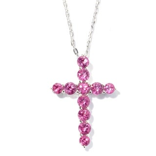 Pinctore Stering Silver Pink Topaz Cross Necklace