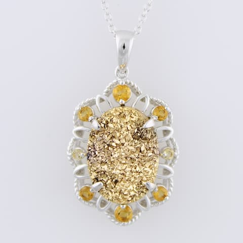 Sterling Silver Drusy Citrine Necklace