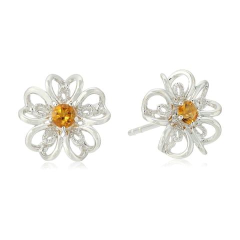 Sterling Silver Citrine flower Stud Earrings