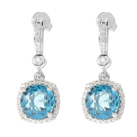 Sterling Silver Gemstone and White Topaz Drop Earrings