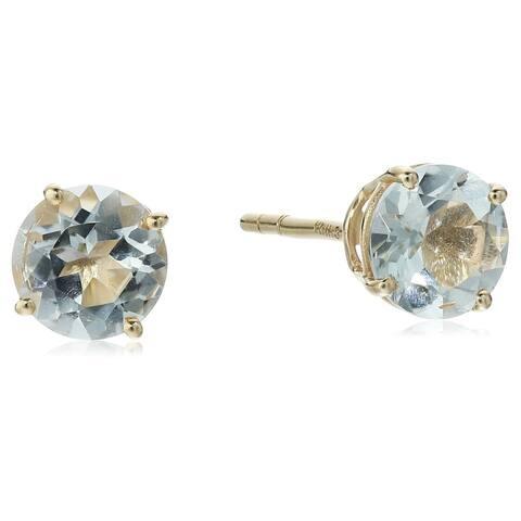 10k Round Stud Aquamarine Earrings