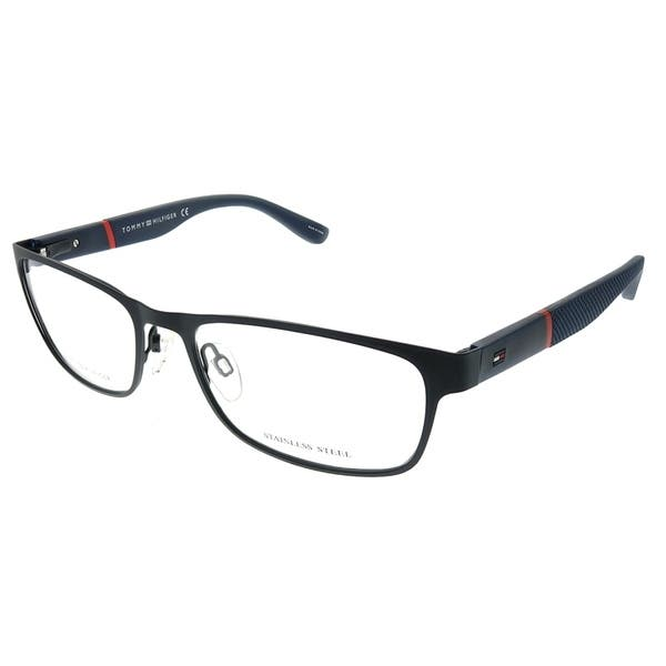 129ff25263 Tommy Hilfiger Rectangle TH 1284 BQZ Unisex Matte Blue Frame Eyeglasses ...