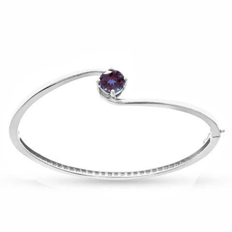 Sterling Silver with Color Changing Alexandrite Bangle Bracelet-6.5''
