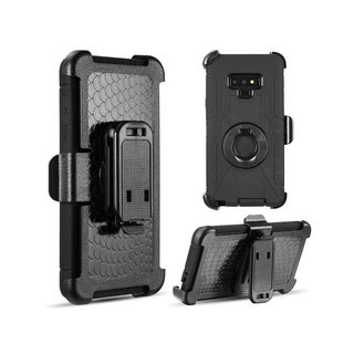 Insten Black Shockproof Dual Layer Hybrid PC/Silicone Holster Case Cover Compatible With Samsung Galaxy Note 9