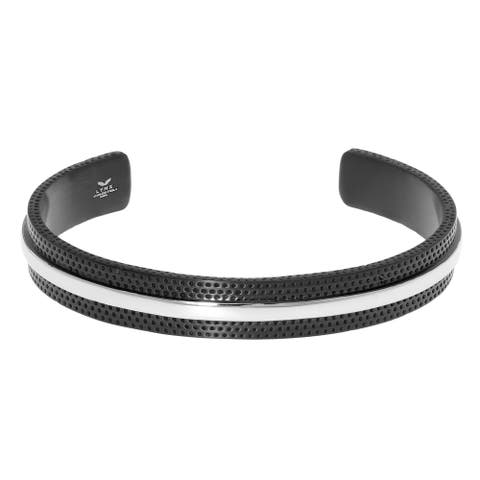Two-tone Stainless Steel Cuff Bangle Bracelet wih Dotted Texture