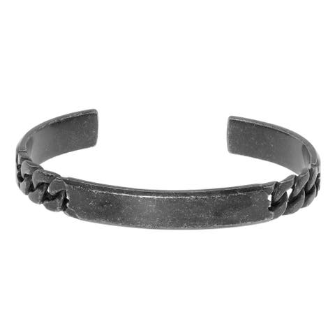 Stainess Steel Cuff Bangle Bracelet with Curb Chain Design and Black Ion Plating