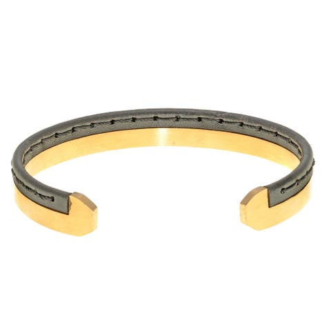 Goldtone Ion Plated Stainless Steel Cuff Bangle Bracelet with Stiched Black Leather