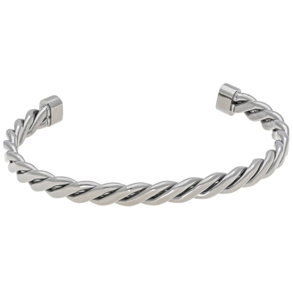 Stainless Steel Twited Cuff Bangle Bracelet with Gunmetal Grey Ion Plating. Opens flyout.