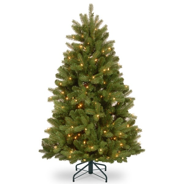 Newberry Spruce Green Plastic 4 5 Foot Christmas Tree With Dual Color Led Lights