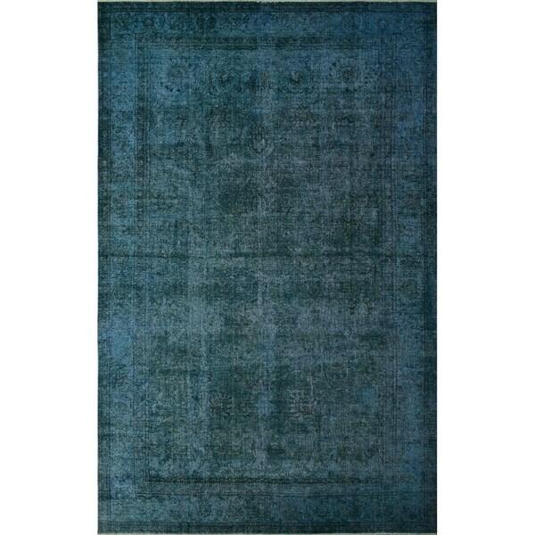 """Noori Rug Distressed Overdyed Milana Teal Blue/Drk. Brown Rug - 9'9"""" x 15'7"""""""