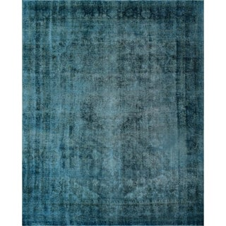 "Noori Rug Distressed Overdyed Chaya Blue/Drk. Brown Rug - 9'10"" X 12'10"""
