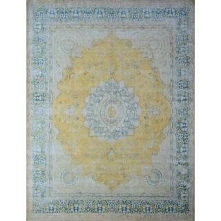 "Noori Rug Fine Vintage Distressed Zaniyah Gold/Teal Green Rug - 9'6"" x 13'3"""