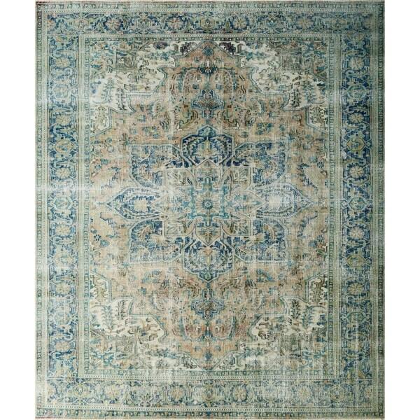 "Noori Rug Semi-Antique Distressed Alessia Peach/Blue Rug - 10'1"" x 12'9"""