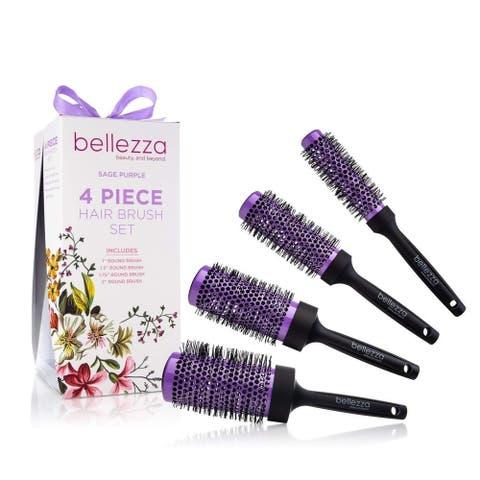 Bellezza Blush Pink Hair Brush Set Ceramic Round Brush Bundle with Sizes