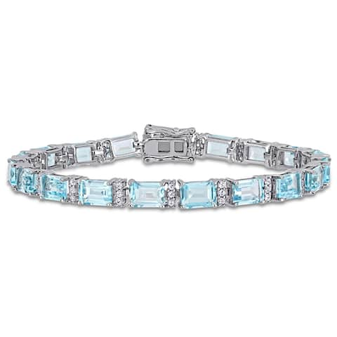 Miadora Sterling Silver 23 5/8ct TGW Sky-Blue Topaz White Sapphire Tennis Bracelet