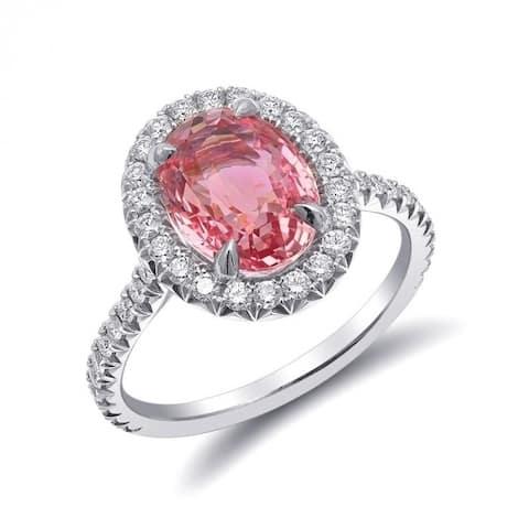 Platinum 3.79ct TGW Certified Padparadscha Sapphire White Diamond Ring
