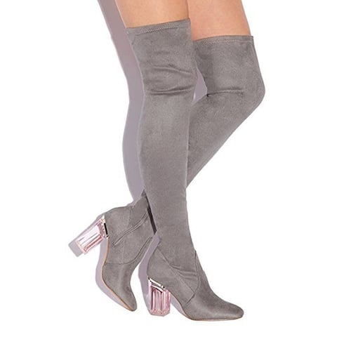 Cape Robbin Fay-2 Grey Suede Lucite-heeled Thigh-high Stretch Boots