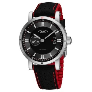 Mühle Glashutte Men's M1-29-73-NB 'Teutonia Sport II' Black Dial Black/Red Strap Small Seconds Date Automatic Watch