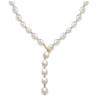 DaVonna 14k Yellow Gold 8-9mm Freshwater Pearl Adjustable Y Necklace, 19.5""