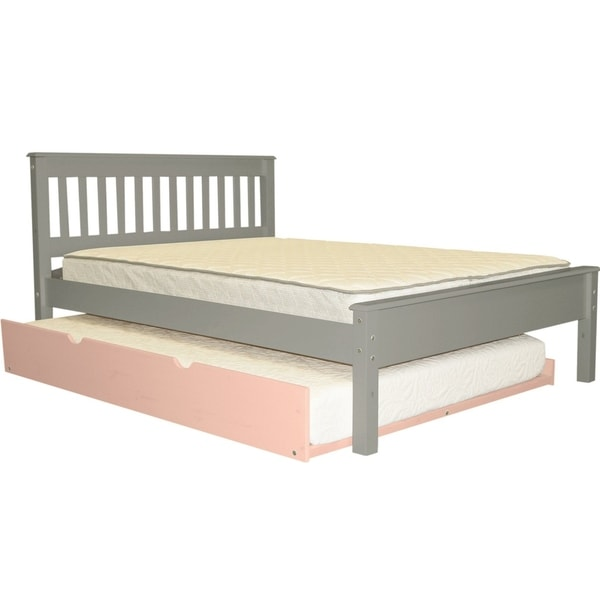 Bedz King Mission Style Grey Brazilian Pine Full Bed with Pink Full Trundle