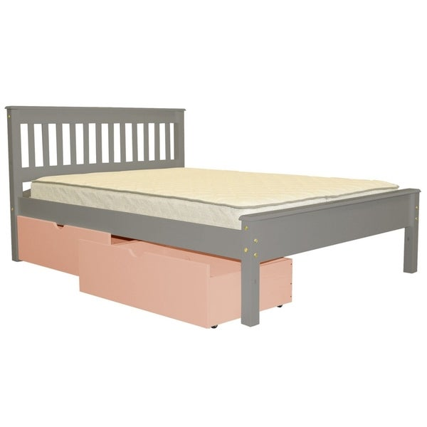 Shop Bedz King Grey Full Size Mission Style Bed With 2