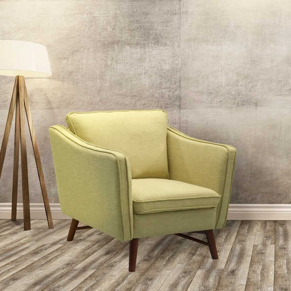 Klein Mid-century Light Green Fabric Chair With Walnut FInish Legs