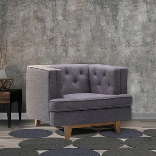 Eden Charcoal Fabric Mid-century Tufted Sofa Chair