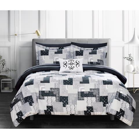 Chic Home Viy 8 Piece Reversible Comforter Set Patchwork Paisley Print