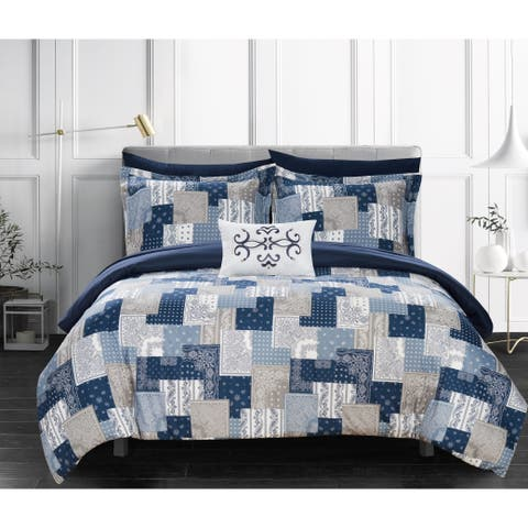 Chic Home Viy 8 Piece Reversible Comforter Set Patchwork Paisley Print