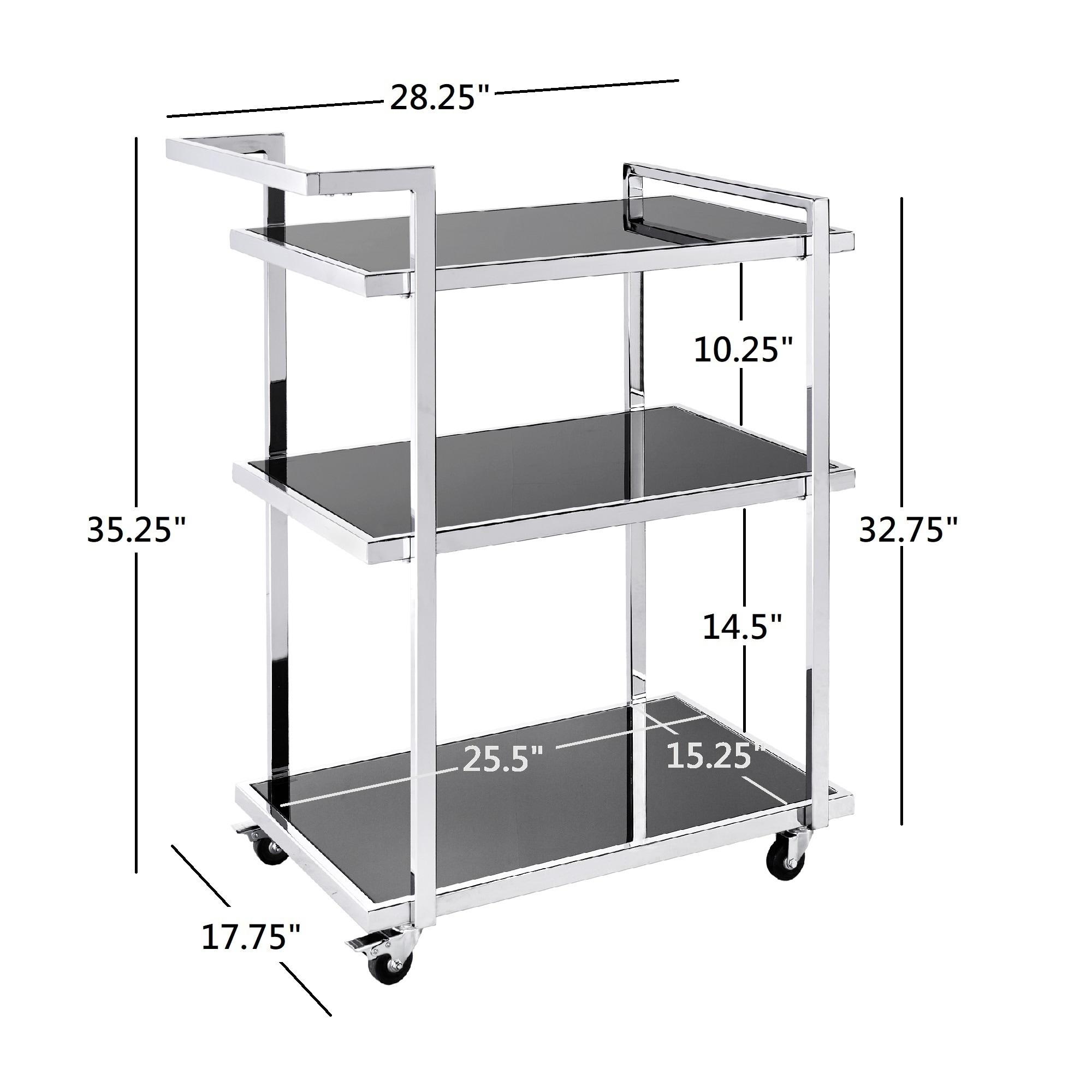 Servierwagen Rolling Home Bar Cart Silver Chrome Finish Metal Glass Modern Glam Serving Cart Mobel Wohnen
