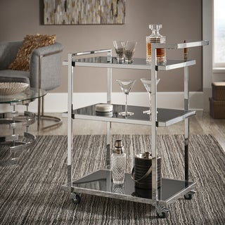Strick & Bolton Ariana Chrome Finish Metal Bar Cart