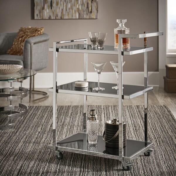 Strick & Bolton Ariana Chrome Finish Metal Bar Cart