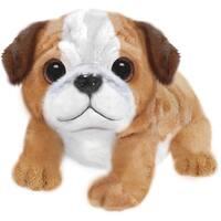 Wuffles Bulldog Plush Dog, Sitting - Brown