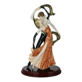 "Santini Authentic Figurine Love Tango Dancers Statue Orange & Black 19"" x 11"" Made in Italy"