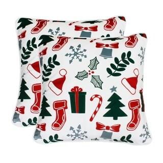 "Thro Set of Two 20"" Harrison Holly Christmas Printed Mandee Velvet Pillows"