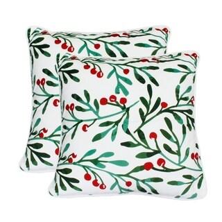 """Thro Set of Two 20"""" Missy Mistletoe Printed Mandee Velvet Pillows"""
